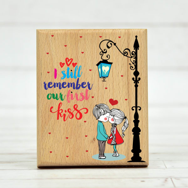 First Kiss Quote Customized Wooden Frame