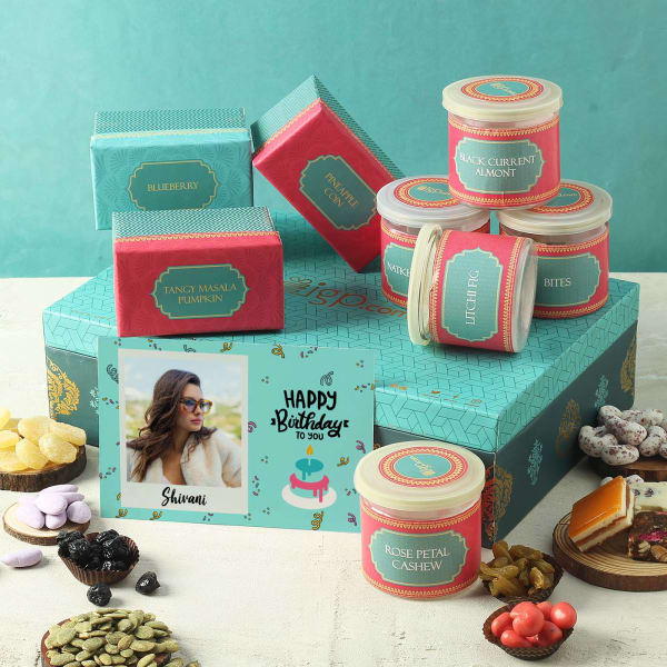 Flavored Dry Fruit Box with Personalized Birthday Card