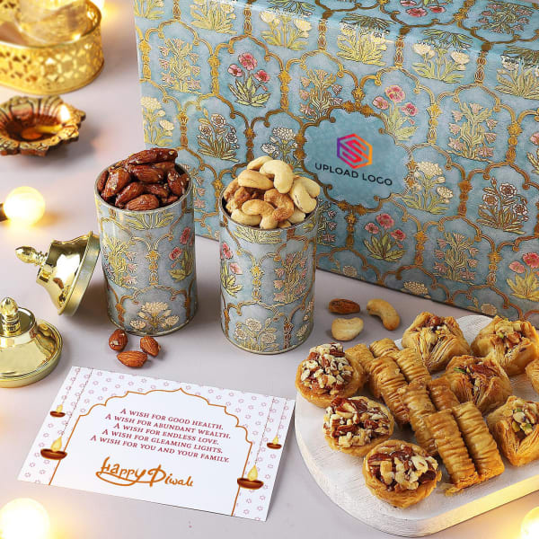 Flavoured Dry Fruits And Baklava Hamper - Customized With Logo