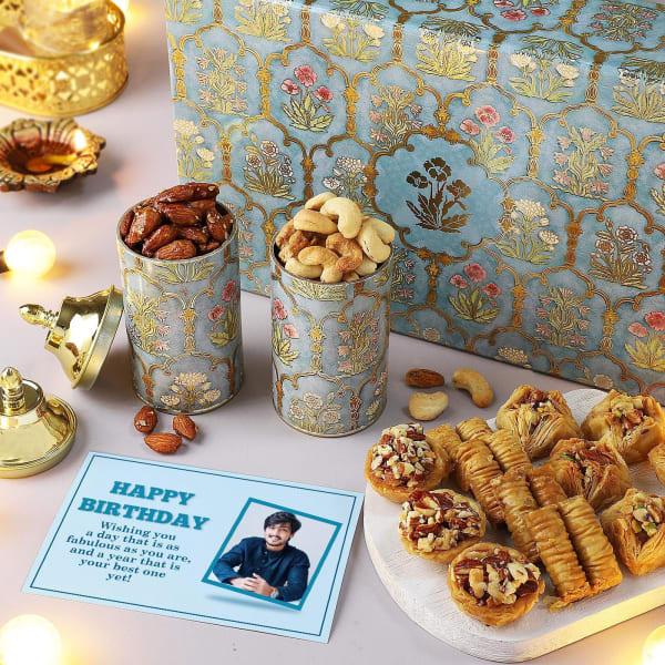 Flavoured Dry Fruits And Baklava With Personalized Birthday Card