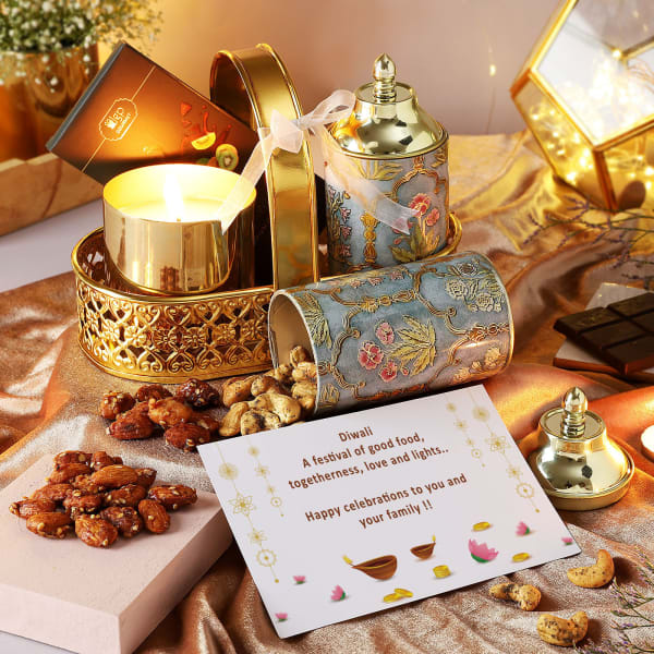 Flavoured Dry Fruits And Candle Diwali Hamper