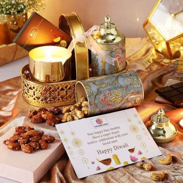 Flavoured Dry Fruits And Candle Diwali Hamper - Customized With Logo
