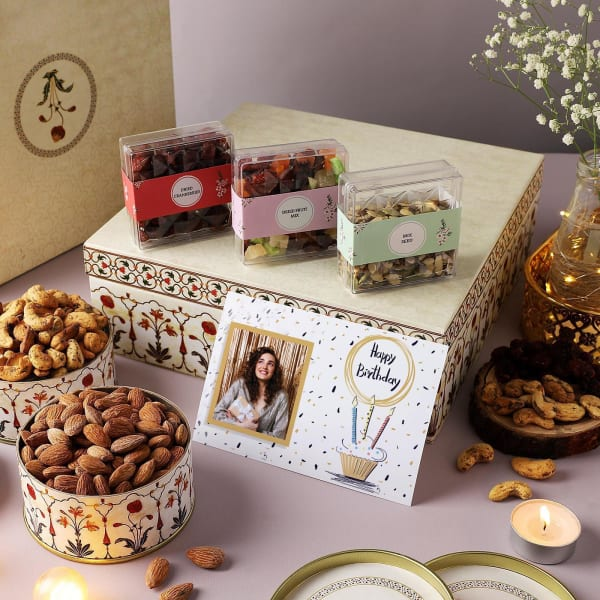 Flavoured Dry Fruits Gourmet Hamper With Personalized Birthday Card