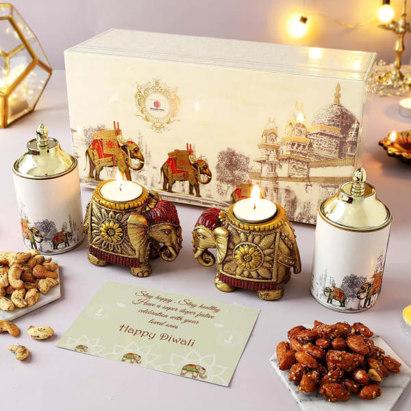 Flavoured Dry Fruits With T-Light Holders Hamper - Customized With Logo