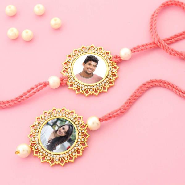 Floral CZ Personalized Bhaiya Bhabhi Rakhi