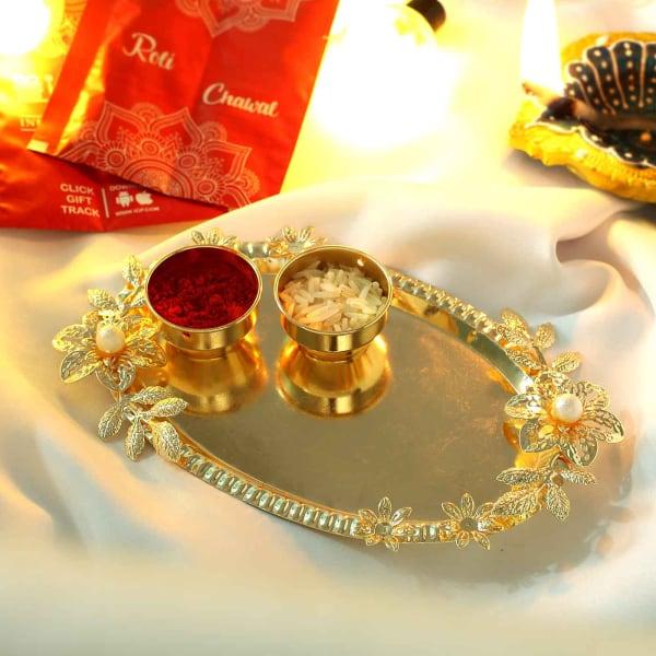 Floral Design Metal Bhai Dooj Tikka Thali