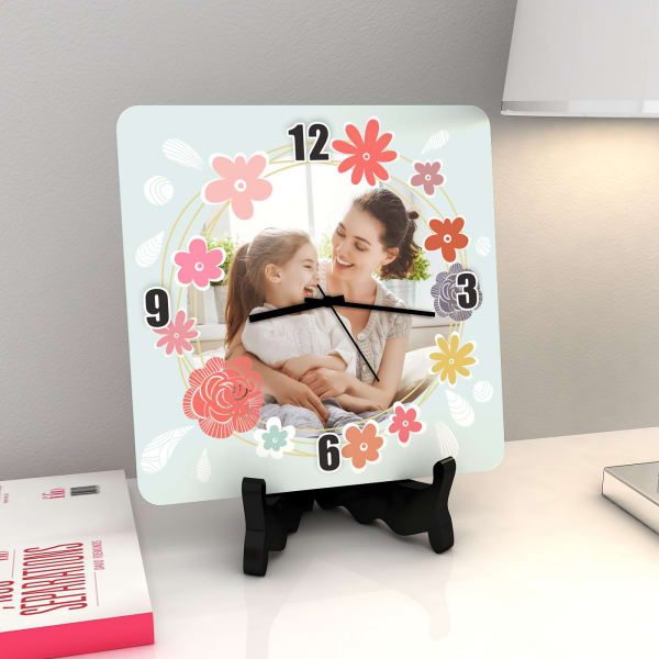 Floral Design Personalized Clock