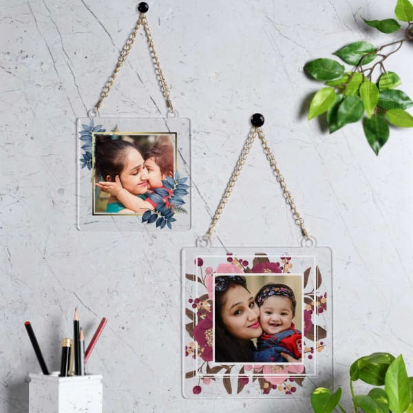 Floral Design Personalized Wall Hanging Photo Frame For Mom