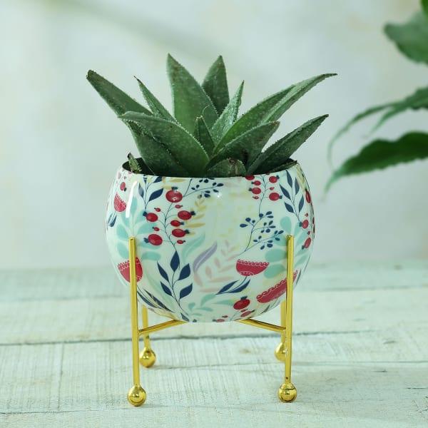 Floral Design Round Metal Planter