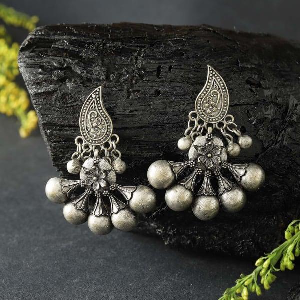 Floral Motif Silver Oxidized Matte Finish Earrings