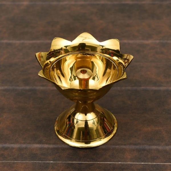 Floral Pattern Brass Batti Diya 2 inch