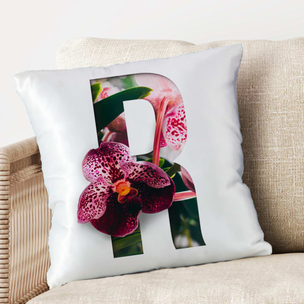 Floral Printed Personalized Initial Cushion