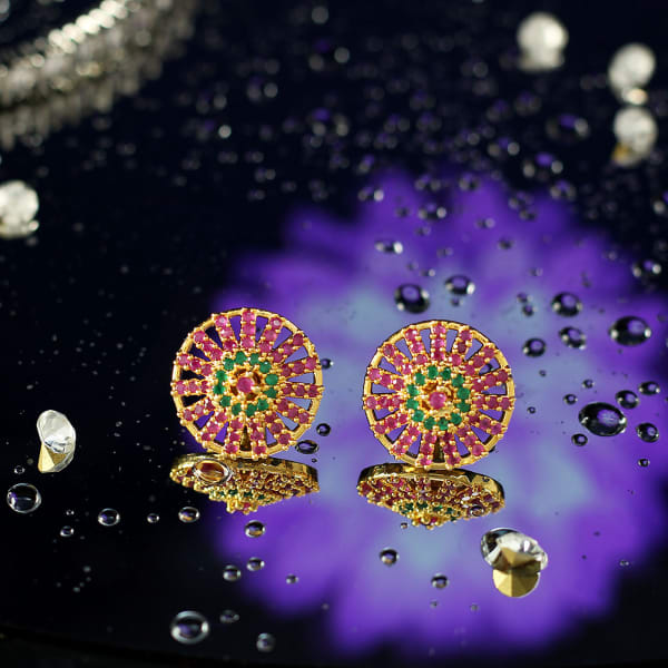 Floral Shaped Earrings with CZ Stones