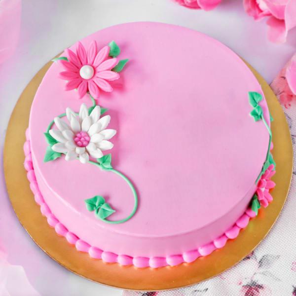 Flower Decorated Pink Chocolate Cake (Half Kg)