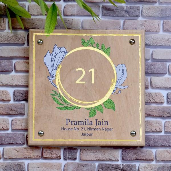 Flower Design Wooden Name Plate