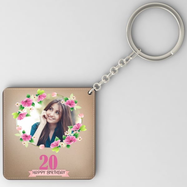 Flower Frame Personalized Birthday Keychain