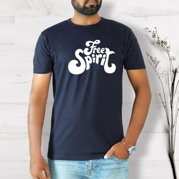 Free Spirit Half Sleeve Men's T-Shirt - Navy Blue