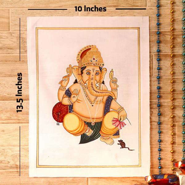 Gajaraja Gold Idol Silk Painting