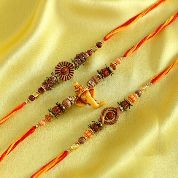 Ganesha and Rudraksh Rakhi with Six Types Of Dry Fruits in a