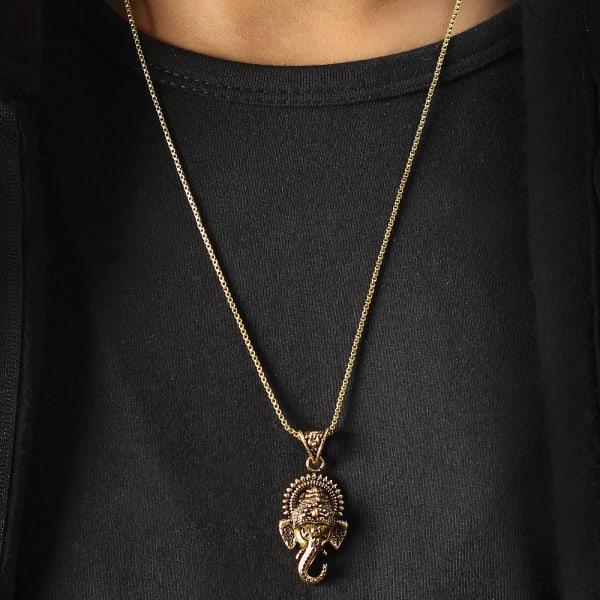 Ganesha Engraved Oxidised Gold Finish Men's Pendant