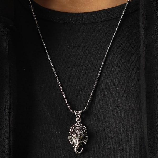 Ganesha Engraved Oxidised Silver Finish Men's Pendant