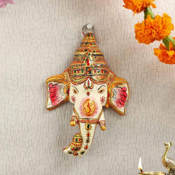 Ganesha Head Hand Painted Wall Decor