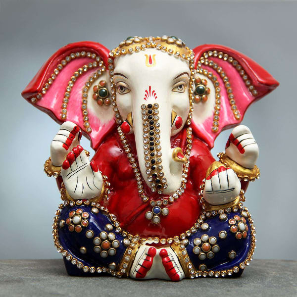 867ac5ee2a2f Ganesha Idol Decorated with Kundan and Meena  Gift Send Home and ...