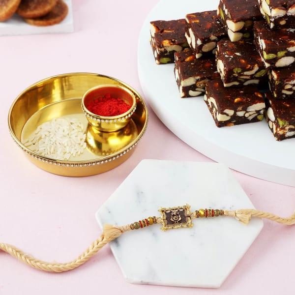 Ganesha Rakhi With Sugar Free Barfi