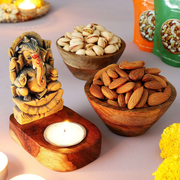 Ganesha T-Light Holder With Dry Fruits