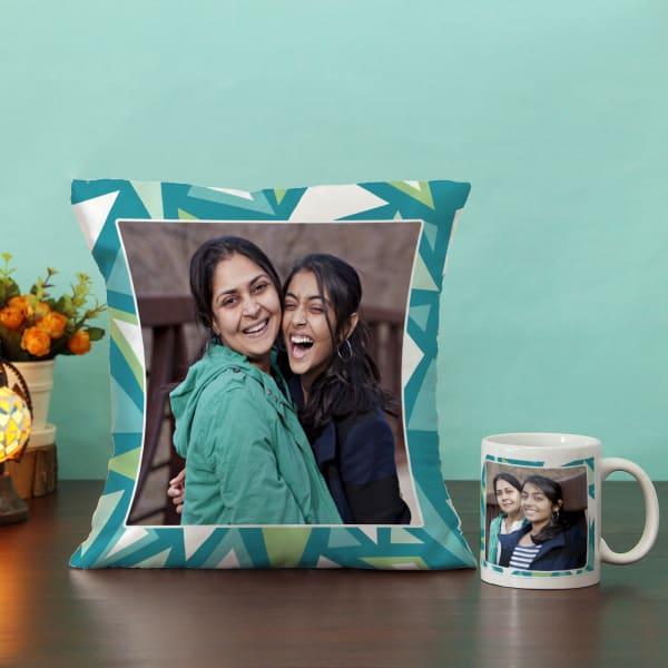Geometric Pattern on Personalized Cushion & Mug Hamper