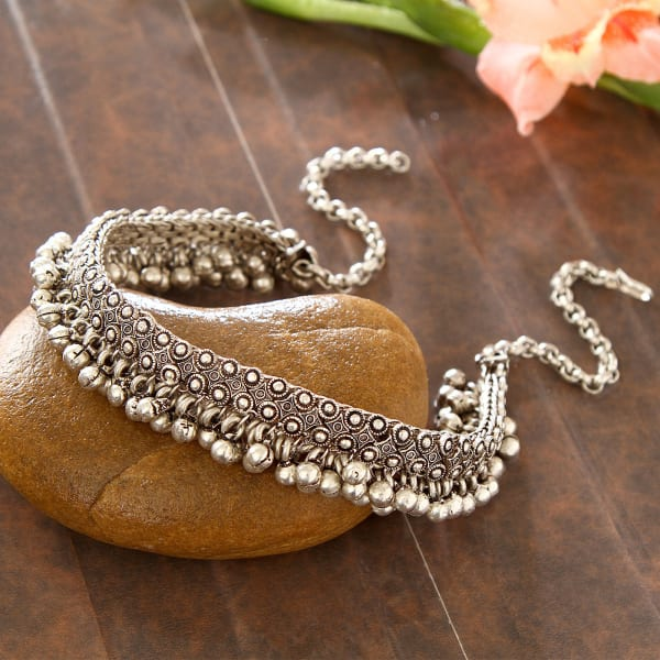 e828c95a2d Ghungroo Galoband Oxidized Silver Plated Banjara Necklace: Gift/Send ...