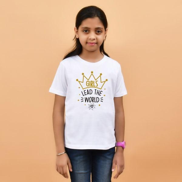 Girls Lead the World White T-Shirt for Girls
