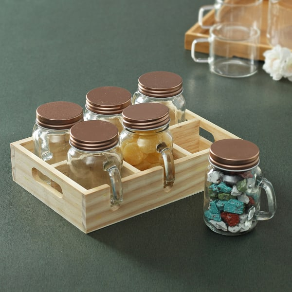 Glass Jar Set with Wooden Tray