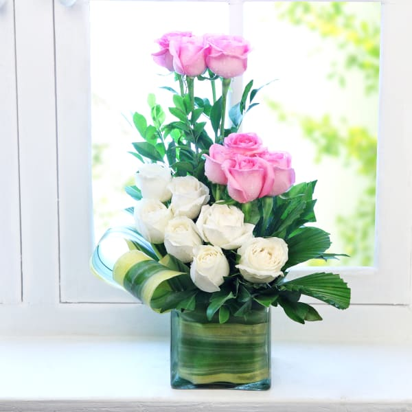 Glass Vase with Pink & White Roses