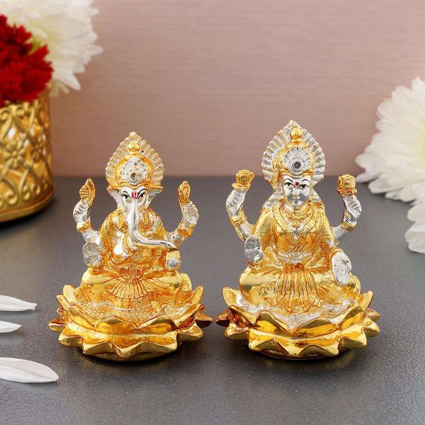 Gold And Silver Plated Lakshmi And Ganesha Idols