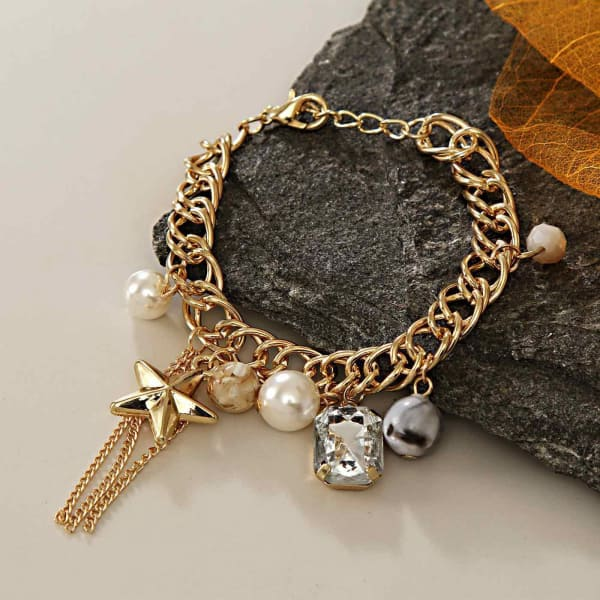 Gold Bracelet with Beads & Stones