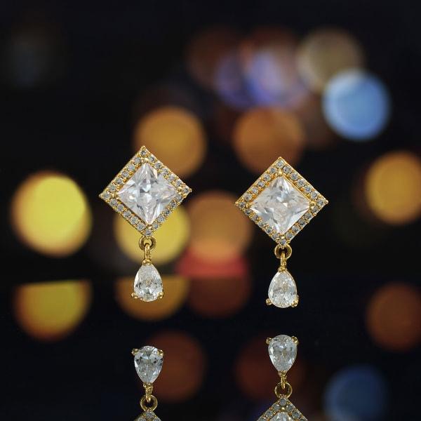 Gold Finish CZ Stone Dangler Earrings