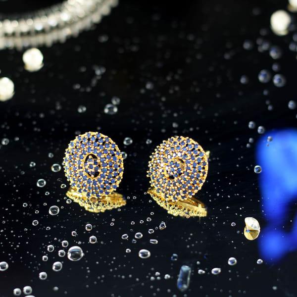 Gold Finish CZ Stone Round Stud Earrings