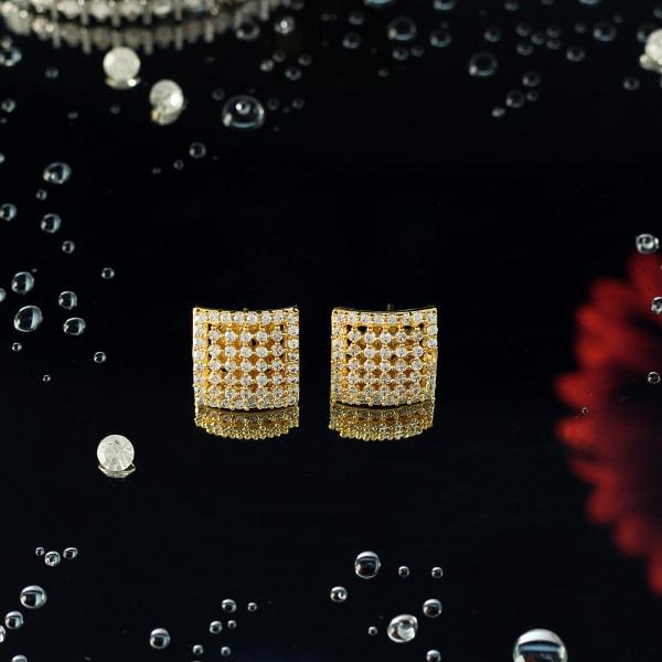 Gold Finish CZ Stone Square Stud Earrings