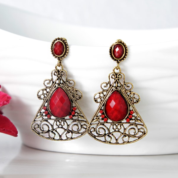 Gold Oxidised Red Stone Earrings