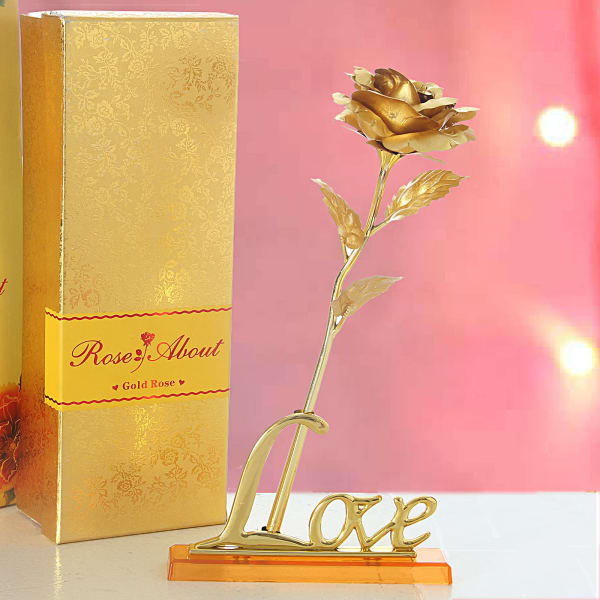 Gold Plated Artificial Rose with Love Stand