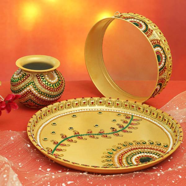 Gold Plated Designer Karwa Chauth Thali Set