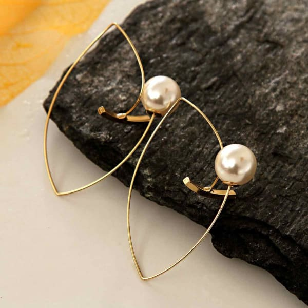 Gold Plated Earrings with Pearls in Abstract Design