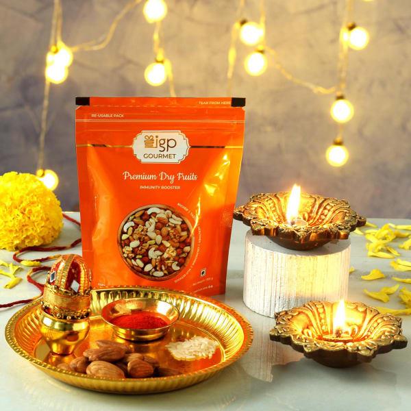 Gold Plated Puja Thali Hamper with Clay Diya Set