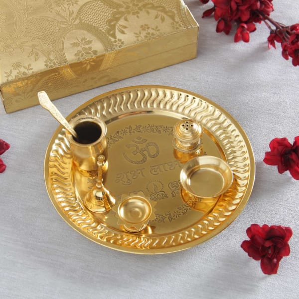 Gold Plated Puja Thali with Accessories