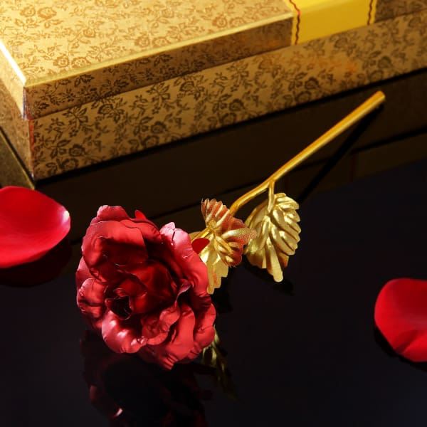 Gold Plated Rose With Red Petals And Love Showpiece Gift