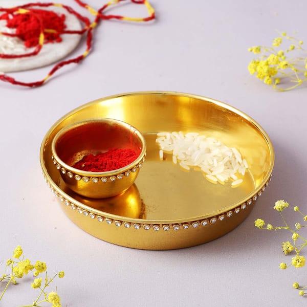Gold Plated Tilak Thali With Moli