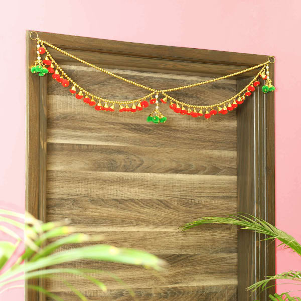 Golden Beads with Colorful Pom Poms Toran