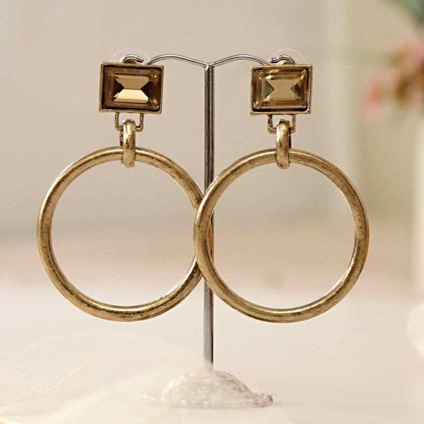 Golden Metal Hoop Earrings with Studs