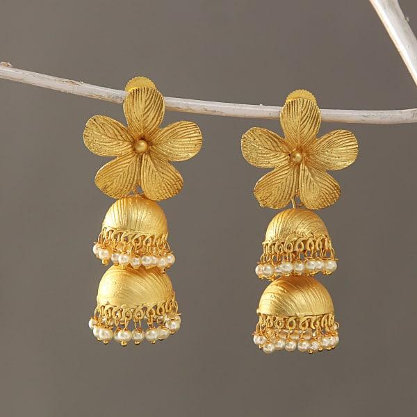 Golden Metal Work Flower Earrings